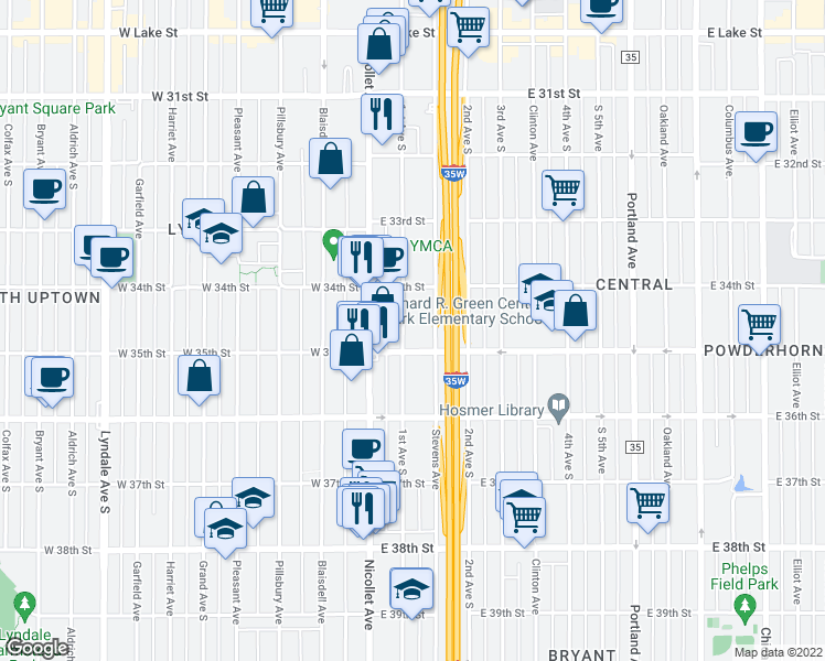 map of restaurants, bars, coffee shops, grocery stores, and more near 3435 1st Avenue South in Minneapolis