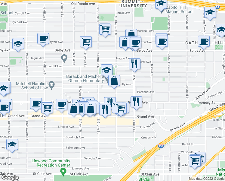 map of restaurants, bars, coffee shops, grocery stores, and more near 691 Portland Avenue in Saint Paul