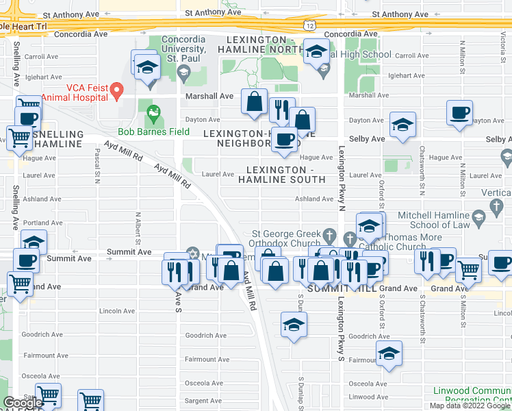 map of restaurants, bars, coffee shops, grocery stores, and more near 69 Griggs St N in St Paul
