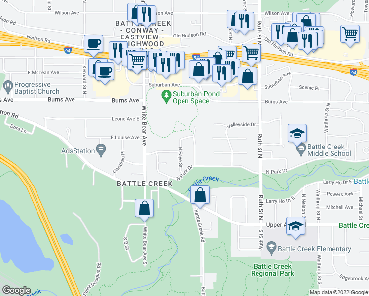 map of restaurants, bars, coffee shops, grocery stores, and more near 182 Faye St in St Paul