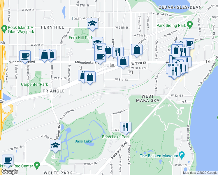 map of restaurants, bars, coffee shops, grocery stores, and more near 3200 Inglewood Ave S in St Louis Park