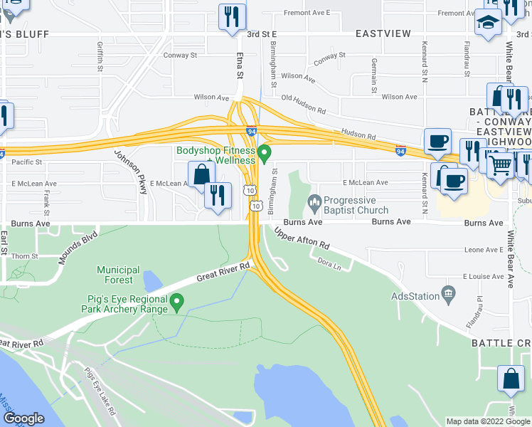 map of restaurants, bars, coffee shops, grocery stores, and more near in Saint Paul
