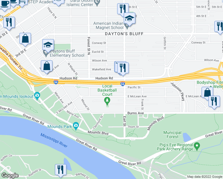 map of restaurants, bars, coffee shops, grocery stores, and more near 1014 Pacific St in St Paul