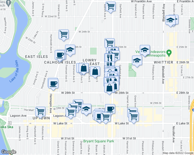 map of restaurants, bars, coffee shops, grocery stores, and more near Bryant Avenue South & West 27th Street in Minneapolis