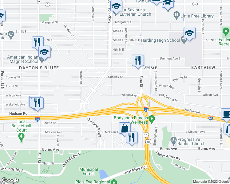 map of restaurants, bars, coffee shops, grocery stores, and more near 424 English St in St Paul
