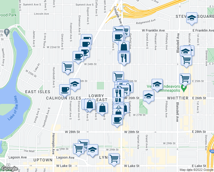 map of restaurants, bars, coffee shops, grocery stores, and more near 2517 Bryant Avenue South in Minneapolis
