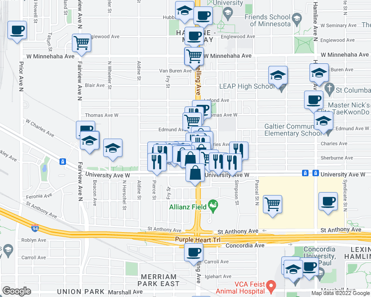 map of restaurants, bars, coffee shops, grocery stores, and more near 1604 Charles Avenue in Saint Paul
