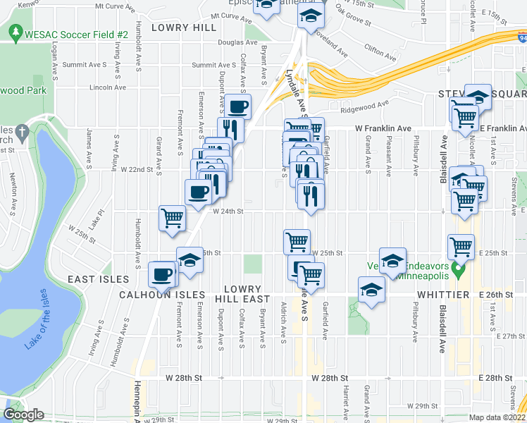 map of restaurants, bars, coffee shops, grocery stores, and more near Bryant Avenue South & West 24th Street in Minneapolis