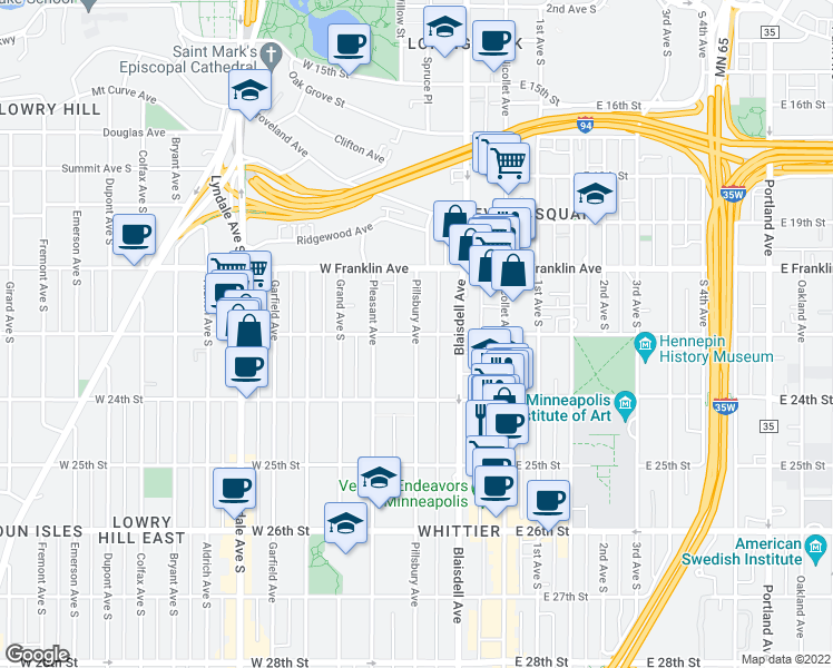 map of restaurants, bars, coffee shops, grocery stores, and more near Pillsbury Avenue South & West 22nd Street in Minneapolis