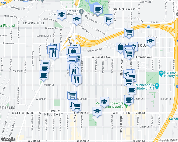 map of restaurants, bars, coffee shops, grocery stores, and more near W 22nd St & Harriet Ave in Minneapolis