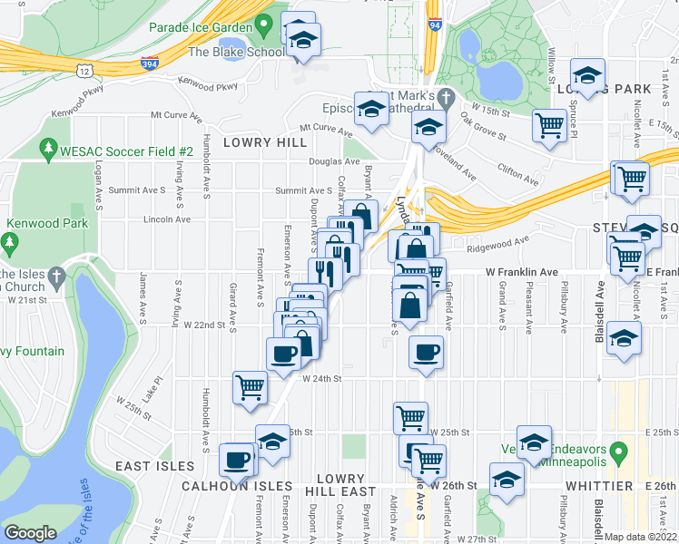 map of restaurants, bars, coffee shops, grocery stores, and more near 1007 W Franklin Ave in Minneapolis