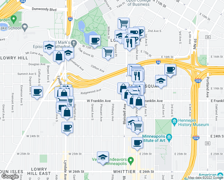 map of restaurants, bars, coffee shops, grocery stores, and more near 301 Clifton Avenue in Minneapolis