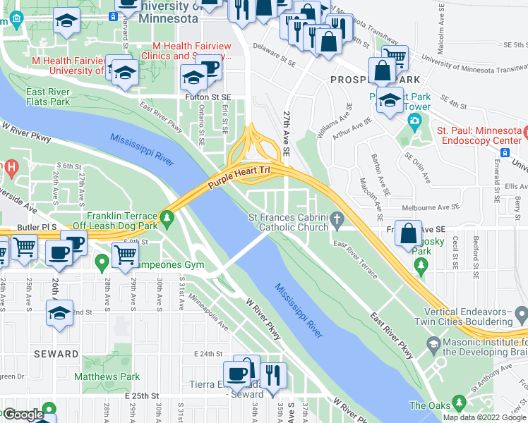 map of restaurants, bars, coffee shops, grocery stores, and more near East River Parkway & Superior Street Southeast in Minneapolis