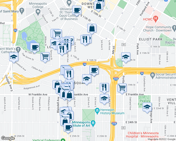 map of restaurants, bars, coffee shops, grocery stores, and more near 1710 2nd Avenue South in Minneapolis