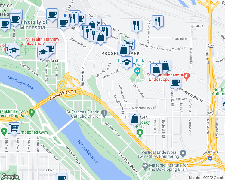 map of restaurants, bars, coffee shops, grocery stores, and more near Arthur Avenue Southeast in Minneapolis