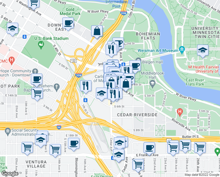 map of restaurants, bars, coffee shops, grocery stores, and more near Cedar Ave S in Minneapolis