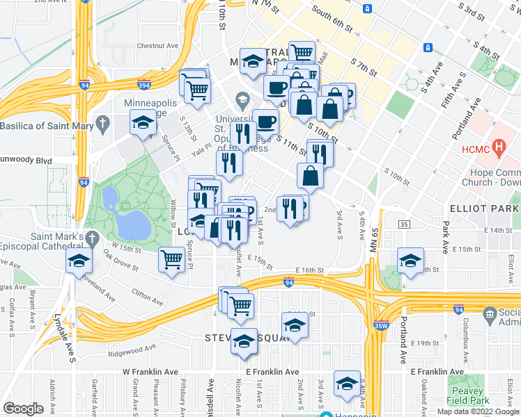 map of restaurants, bars, coffee shops, grocery stores, and more near E Grant St in Minneapolis