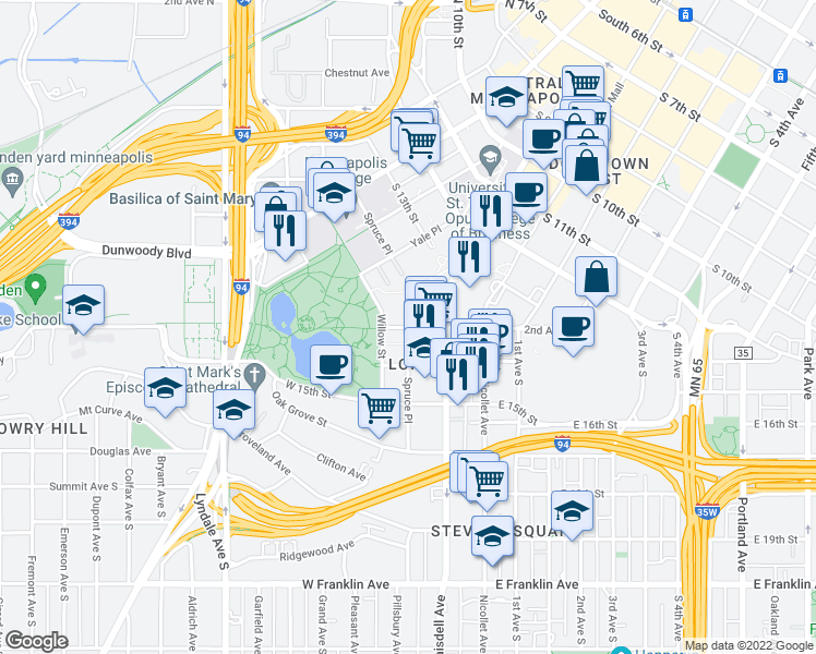 map of restaurants, bars, coffee shops, grocery stores, and more near Spruce Place & West Grant Street in Minneapolis