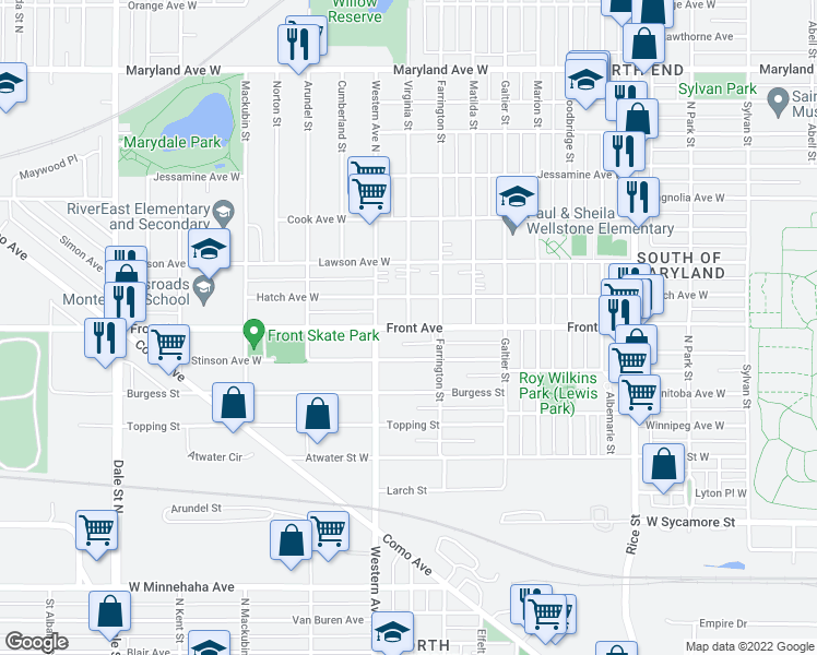 map of restaurants, bars, coffee shops, grocery stores, and more near Front Ave & N Virginia St in St Paul