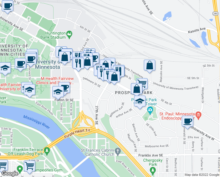 map of restaurants, bars, coffee shops, grocery stores, and more near 2711 Delaware St SE in Minneapolis