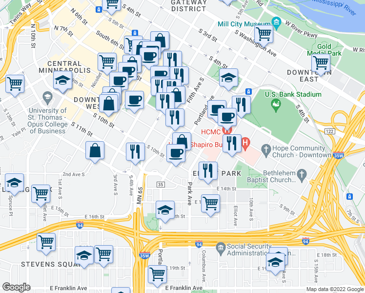 map of restaurants, bars, coffee shops, grocery stores, and more near Portland Avenue & South 9th Street in Minneapolis
