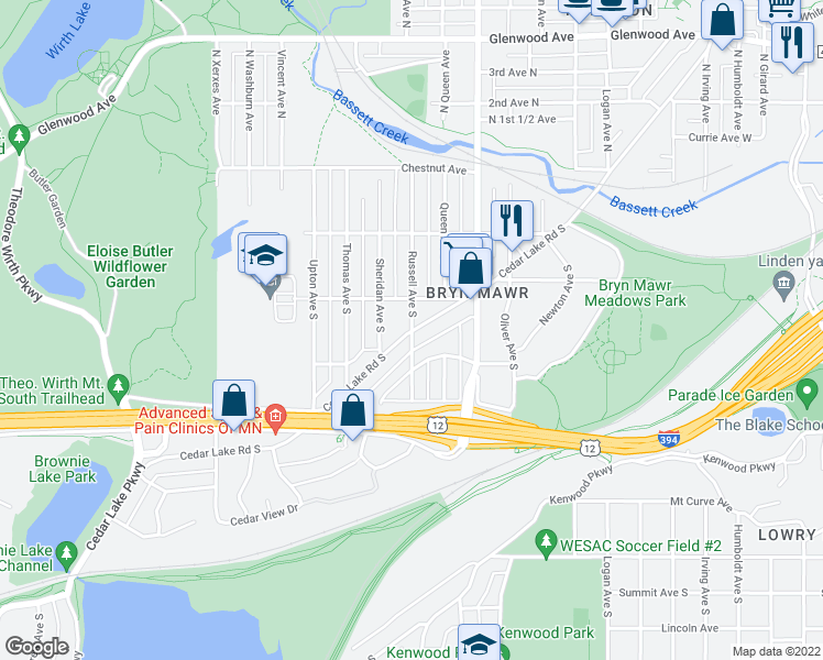 map of restaurants, bars, coffee shops, grocery stores, and more near Cedar Lake Rd S & Russell Ave S in Minneapolis
