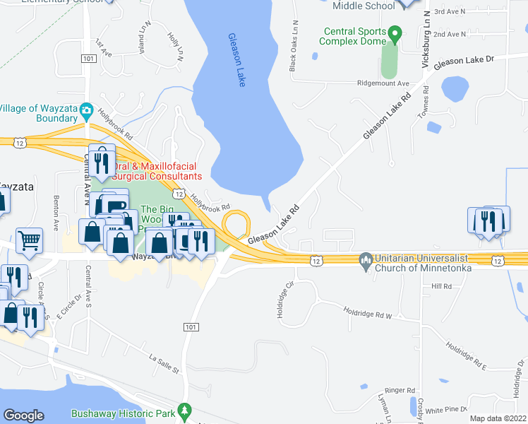 map of restaurants, bars, coffee shops, grocery stores, and more near 155 Gleason Lake Rd in Wayzata