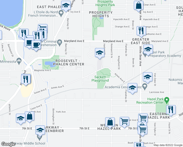 map of restaurants, bars, coffee shops, grocery stores, and more near 1575 E Ames Ave in St Paul