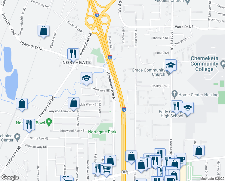 map of restaurants, bars, coffee shops, grocery stores, and more near Hawthorne Ave NE & Felina Ave NE in Salem