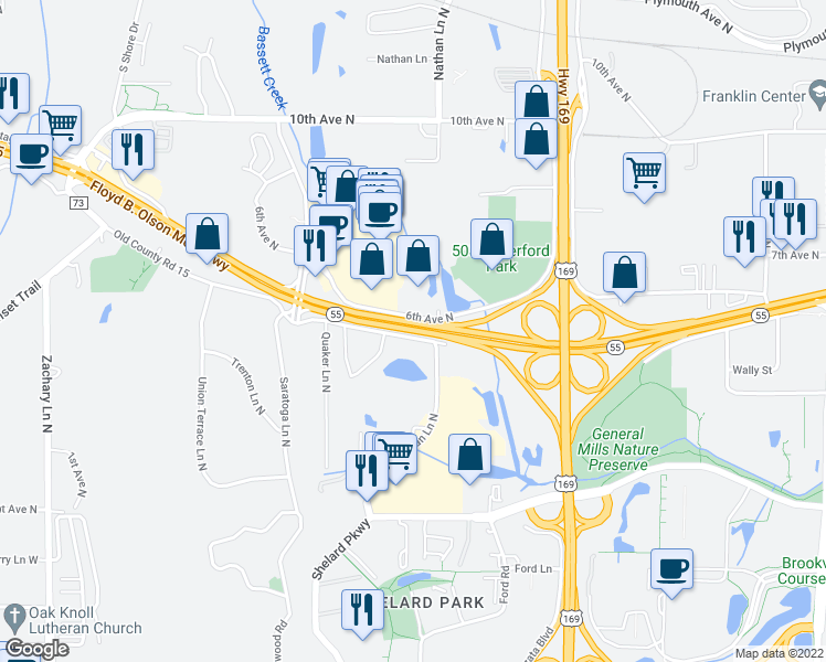 map of restaurants, bars, coffee shops, grocery stores, and more near 10121 Highway 55 in Plymouth