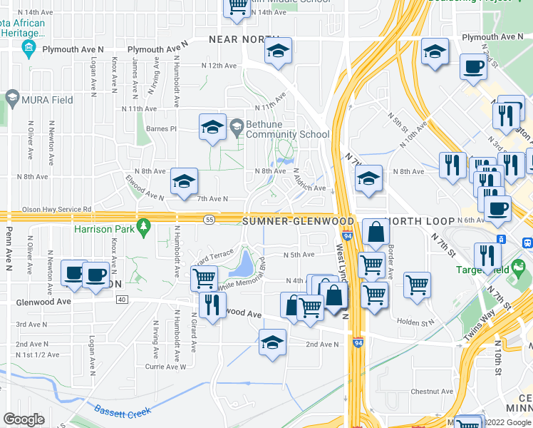map of restaurants, bars, coffee shops, grocery stores, and more near 1000 Olson Memorial Highway in Minneapolis