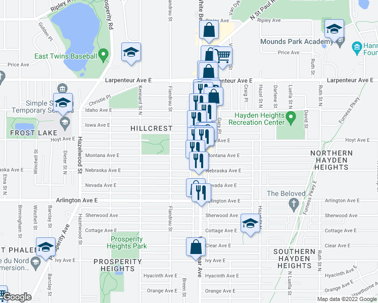 map of restaurants, bars, coffee shops, grocery stores, and more near 1557 White Bear Ave N in St Paul