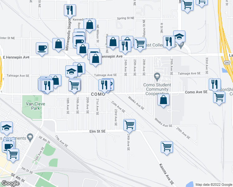 map of restaurants, bars, coffee shops, grocery stores, and more near Como Ave SE & 23rd Ave SE in Minneapolis