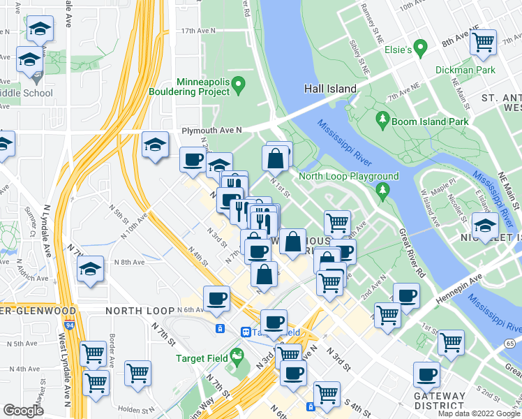 map of restaurants, bars, coffee shops, grocery stores, and more near 701 North 2nd Street in Minneapolis