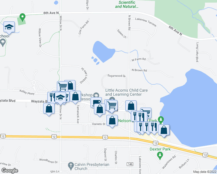 map of restaurants, bars, coffee shops, grocery stores, and more near 2101 Sugarwood Drive in Long Lake