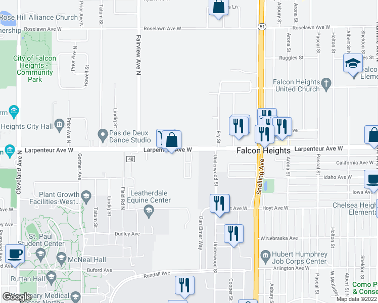 map of restaurants, bars, coffee shops, grocery stores, and more near 1740 Larpenteur Avenue West in Falcon Heights