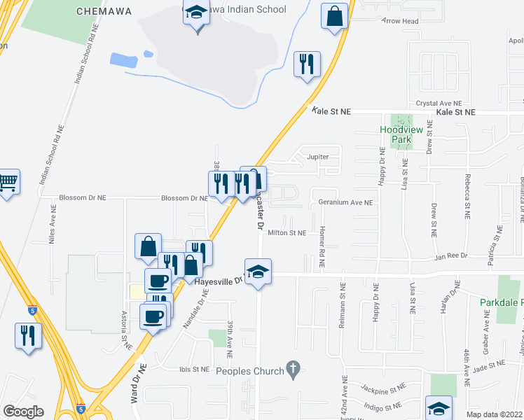 map of restaurants, bars, coffee shops, grocery stores, and more near 4743-4753 Lancaster Dr NE in Salem
