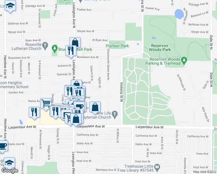 map of restaurants, bars, coffee shops, grocery stores, and more near 1800 Chatsworth Street North in Roseville