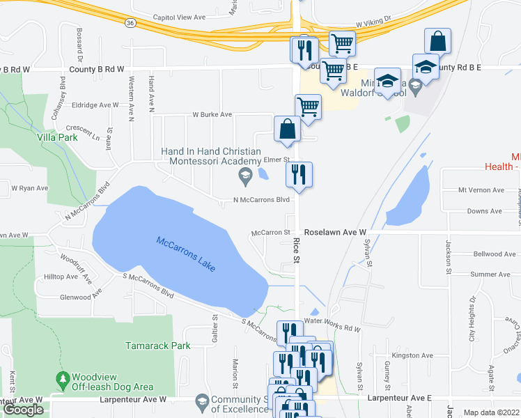 map of restaurants, bars, coffee shops, grocery stores, and more near 194 Mccarrons Boulevard North in Roseville