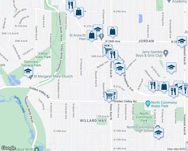 map of restaurants, bars, coffee shops, grocery stores, and more near 2211 Russell Avenue North in Minneapolis