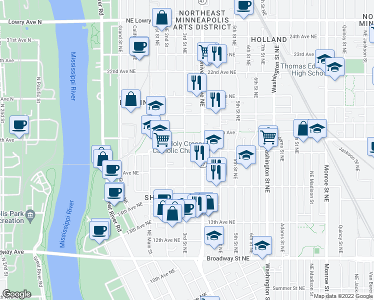 map of restaurants, bars, coffee shops, grocery stores, and more near 301 17th Avenue Northeast in Minneapolis