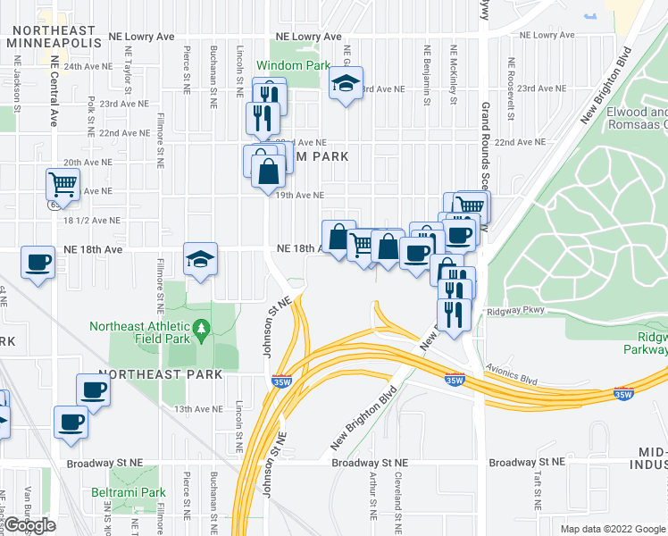 map of restaurants, bars, coffee shops, grocery stores, and more near 11 in Minneapolis