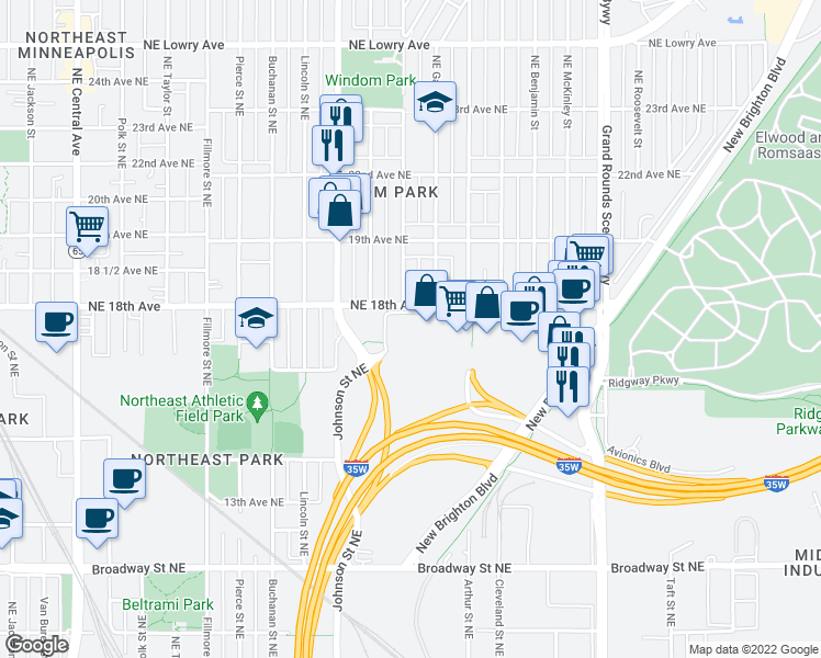 map of restaurants, bars, coffee shops, grocery stores, and more near 4 in Minneapolis