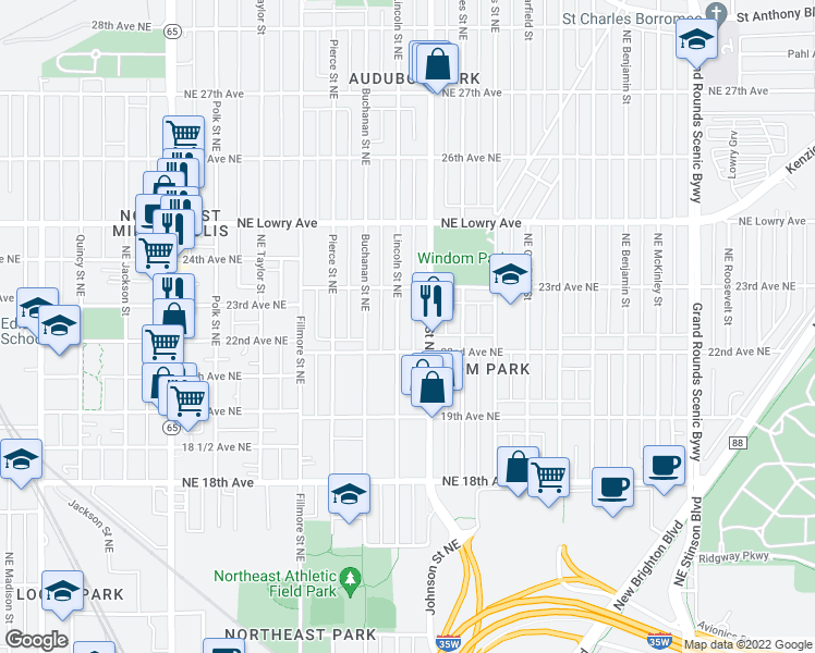 map of restaurants, bars, coffee shops, grocery stores, and more near 2219 Lincoln St NE in Minneapolis