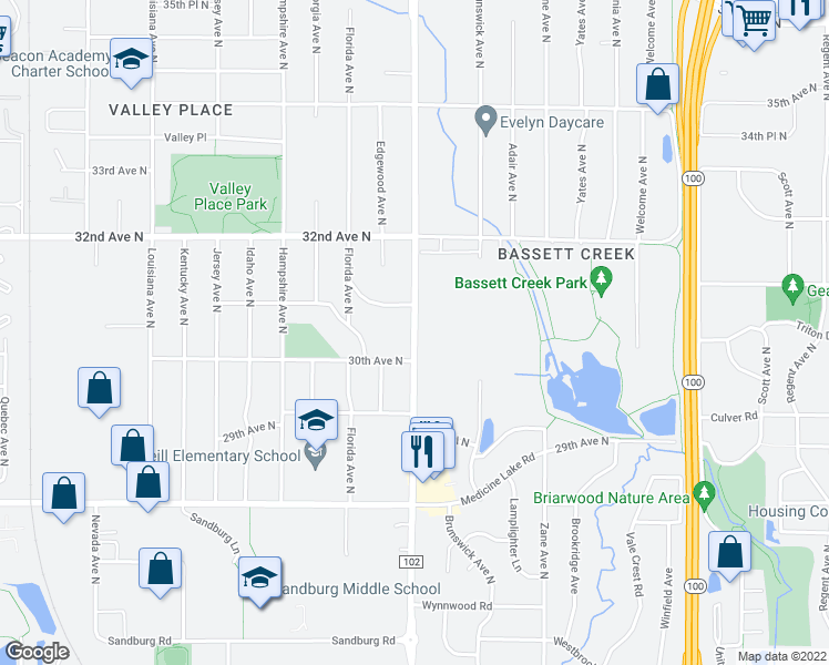 map of restaurants, bars, coffee shops, grocery stores, and more near Douglas Dr N in Minneapolis
