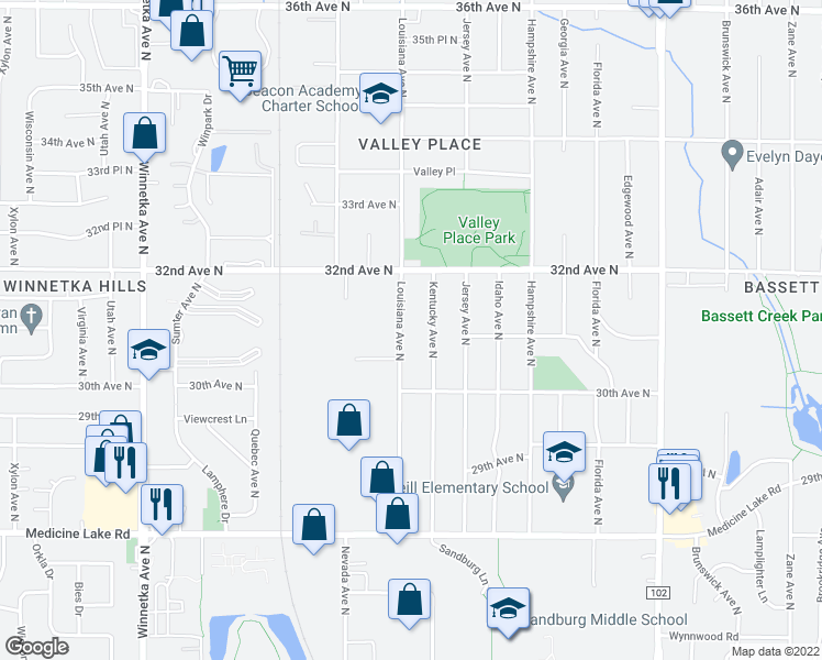 map of restaurants, bars, coffee shops, grocery stores, and more near 7115 32nd Avenue North in Minneapolis