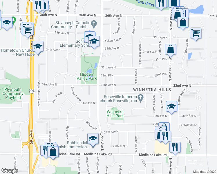 map of restaurants, bars, coffee shops, grocery stores, and more near 3207 Aquila Avenue North in Minneapolis