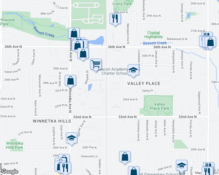 map of restaurants, bars, coffee shops, grocery stores, and more near 3341 Nevada Avenue North in Crystal