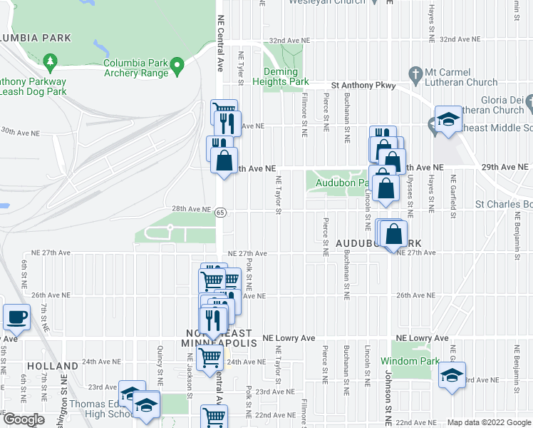 map of restaurants, bars, coffee shops, grocery stores, and more near 1033 28th Ave NE in Minneapolis
