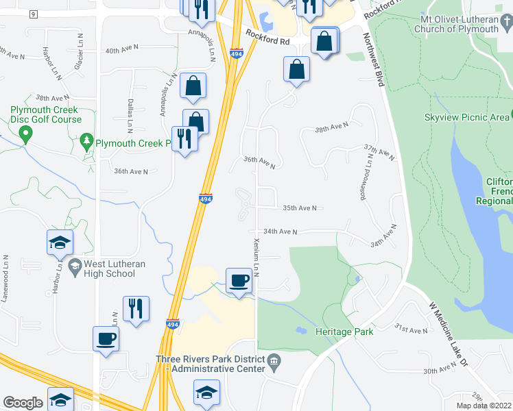 map of restaurants, bars, coffee shops, grocery stores, and more near 3501-3541 Xenium Lane North in Plymouth